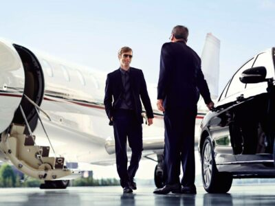 Private Jet passenger arriving with limo ground transportation service steamboat springs