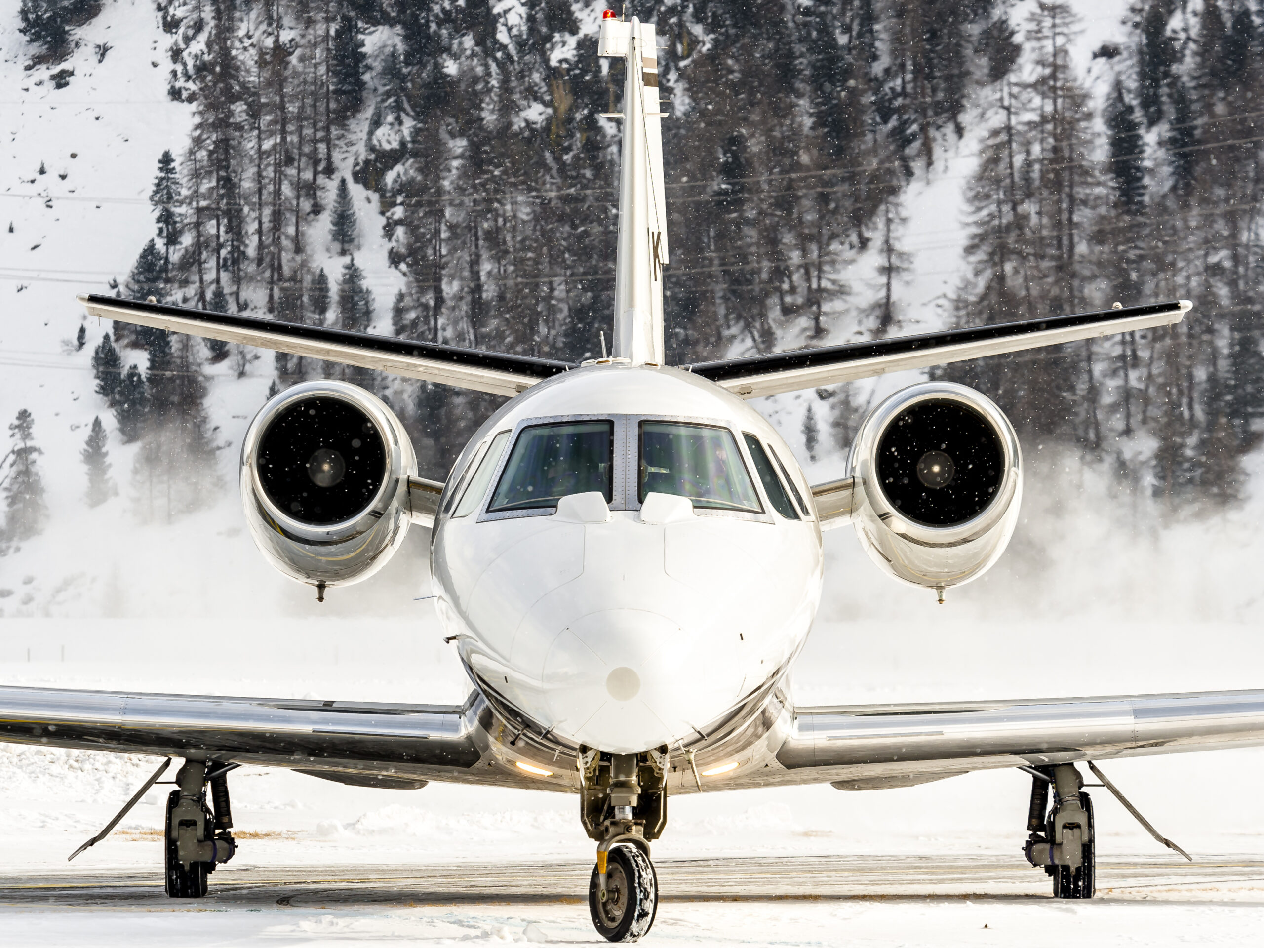 Private Jet landing in snow Steamboat