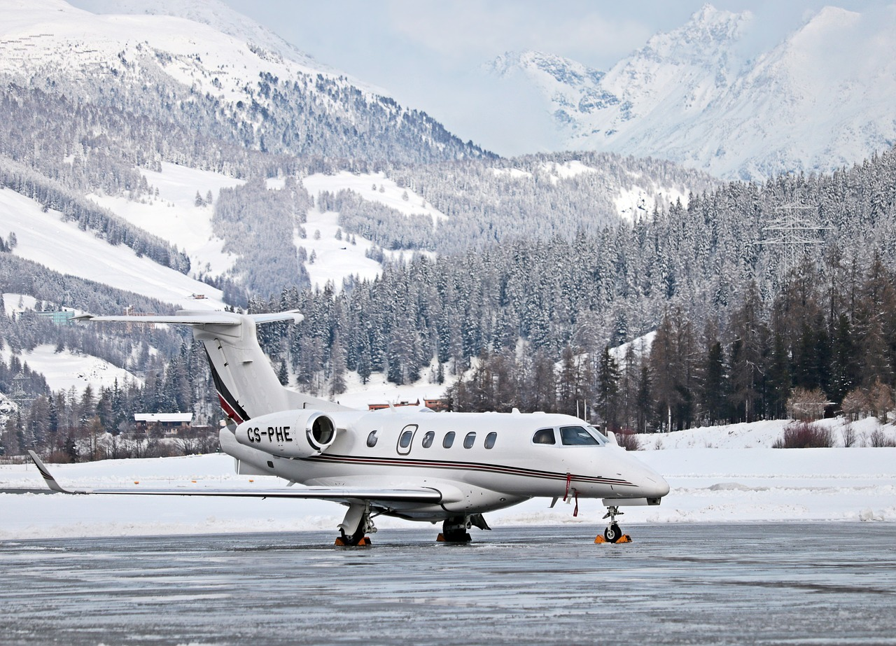 Private Jet landing in mountains